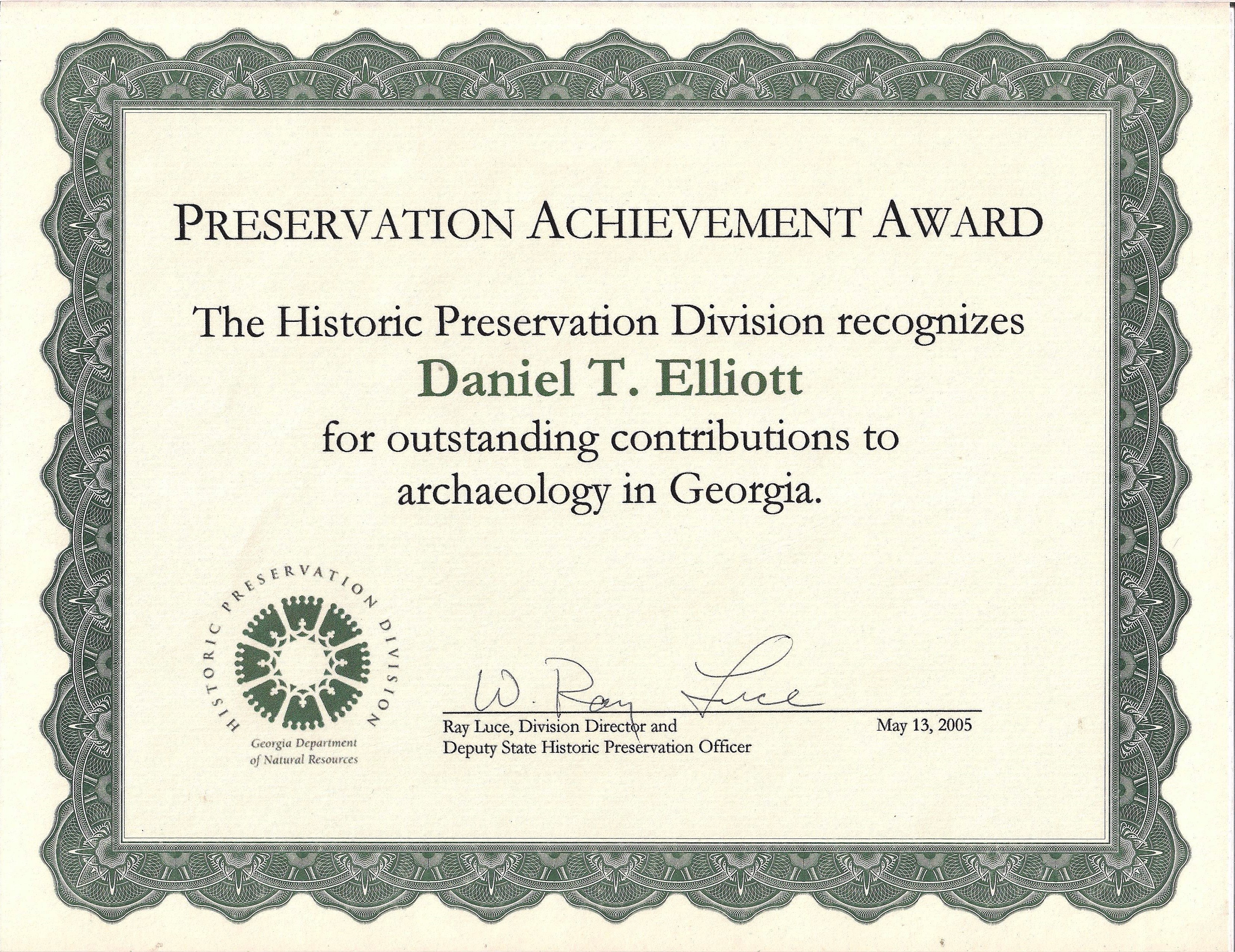 9th Annual Historic Preservation Achievement Award